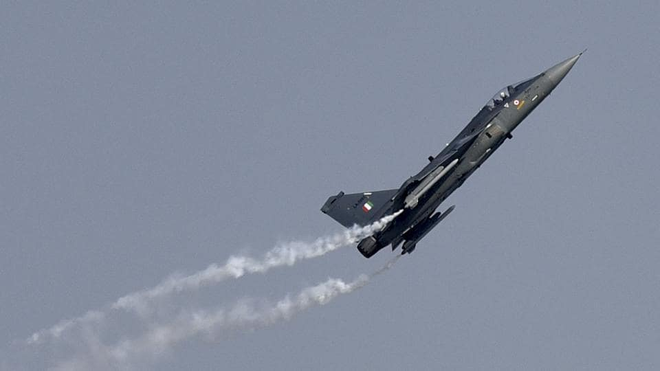 Indian Air Force fighter plane Tejas performs a manoeuvre during the Air Force Day parade at the Air Force Station in Hindon, Ghaziabad.