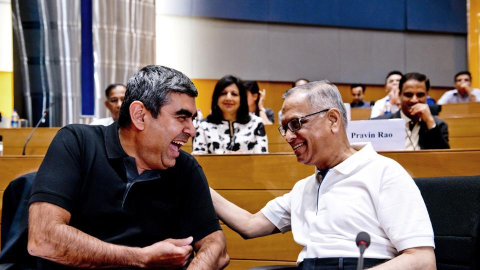 Infosys founder NR Narayana Murthy with CEO Vishal Sikka in Bangalore.