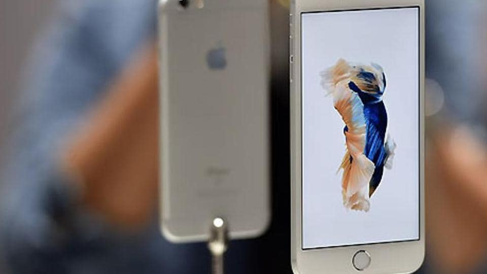 New models of the iPhone 6s are seen displayed during an Apple media event in San Francisco.