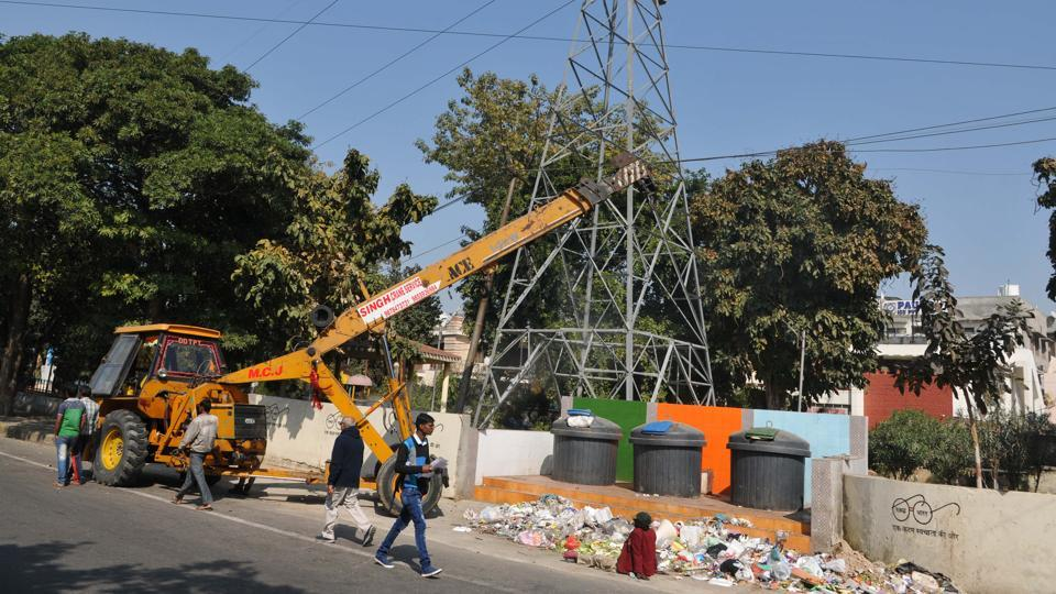 The non­functional smart bins opposite the TV centre in Jalandhar on Monday.