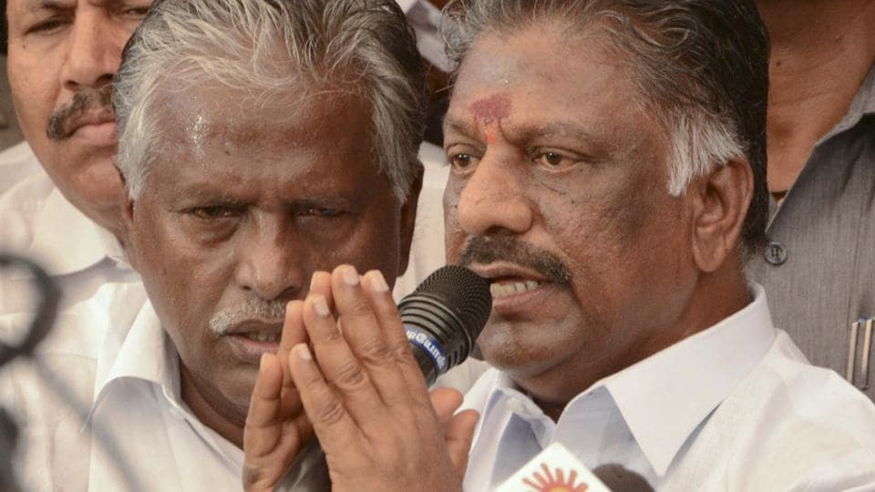 O Panneerselvam addresses the media at his residence in Chennai on Tuesday afternoon after Sasikala's conviction in the DAcase.