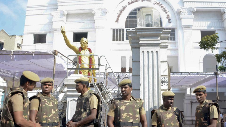 Security at AIADMK headquarters in Chennai.