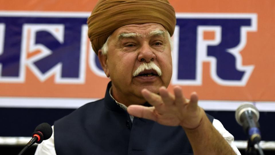 Founder of the Rajputana Karni Sena, Lokendra Singh Kalvi address a press conference in New Delhi.