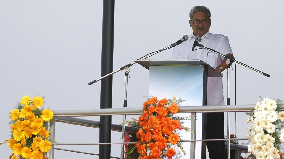 Defense minister Manohar Parrikar speaks at the opening ceremony of Aero India, 2017 at Yelahanka air base in Bengaluru on Tuesday.