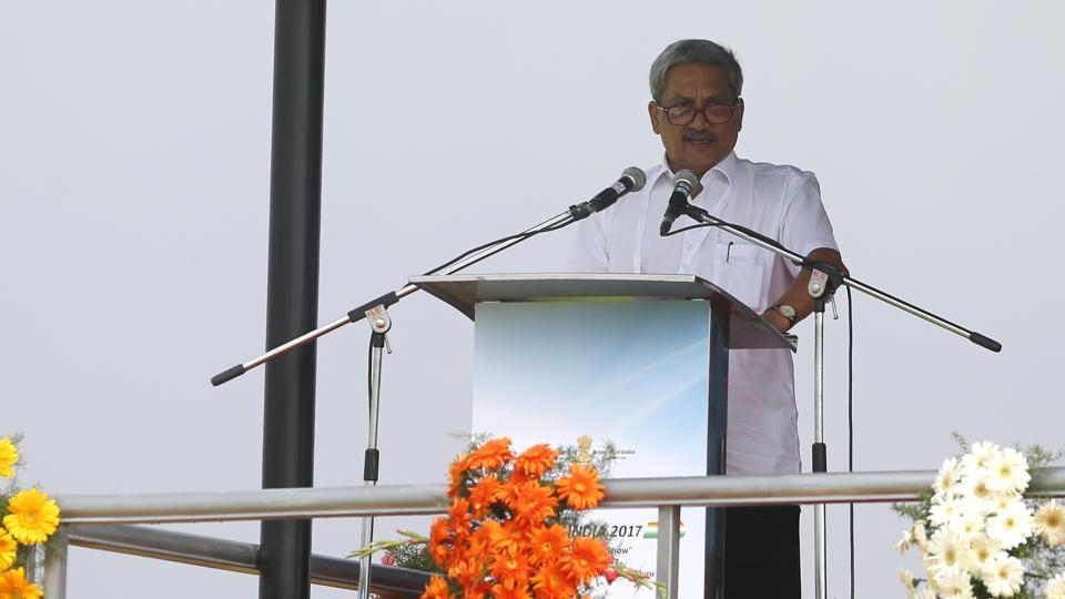 Indian Defense Minister Manohar Parrikar speaks at the opening ceremony. (Aijaz Rahi / AP)