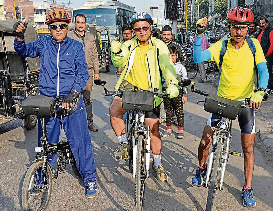 (From left) Jugal Kishore Sharma, Rajesh Sharma and Raj Mhatre starting their cycling expedition in Amritsar on Tuesday.