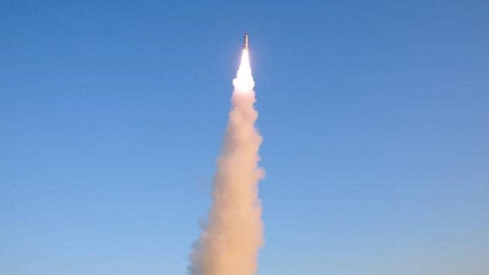 A view of the test-fire of Pukguksong-2 (missile) in North Korea.