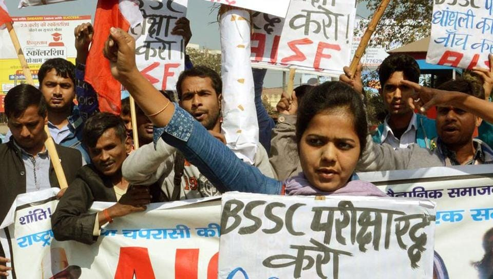Members of the All India Students Federation at a demonstration in protest against the leaked question papers of the Bihar staff selection commission exam.