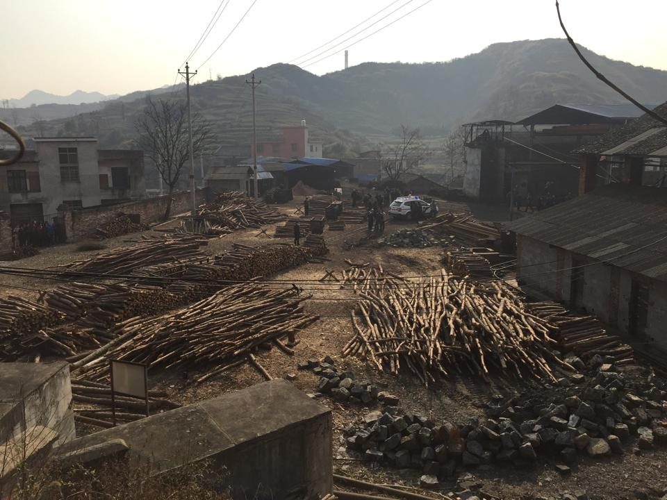 The explosion site at a coal mine in Lianyuan in Hunan province of China.