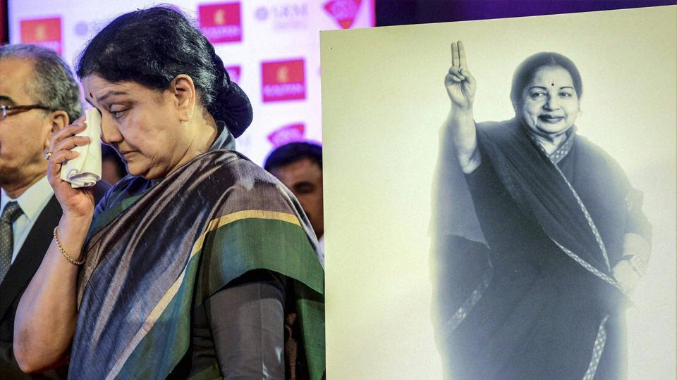 AIADMK general secretary V K Sasikala at a conclave in January. Sasikala faces four years in prison after the Supreme Court convicted her in the DA case.