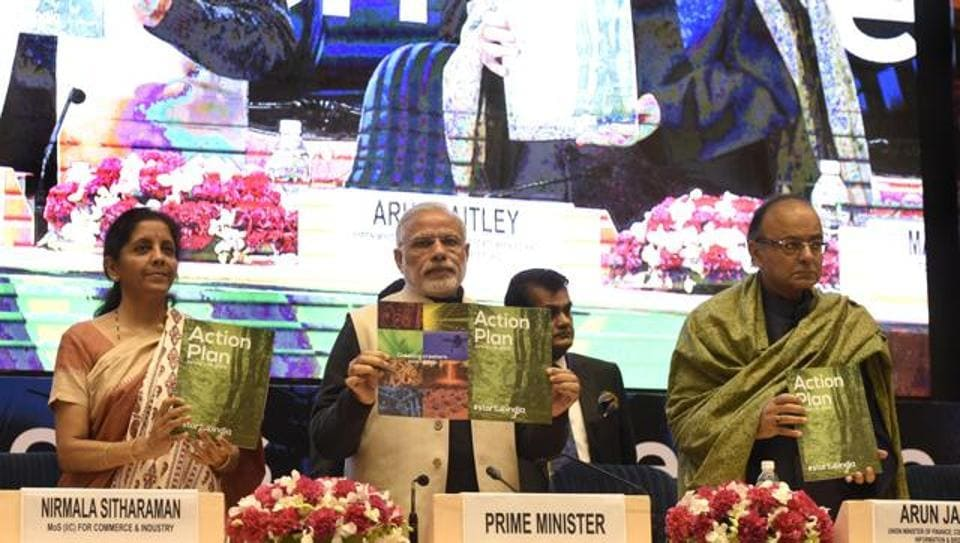 Prime Minister Narendra Modi releasing the Action Plan at the launch of Startups India in January 2016.  Various measures to facilitate startups were announced at this event.