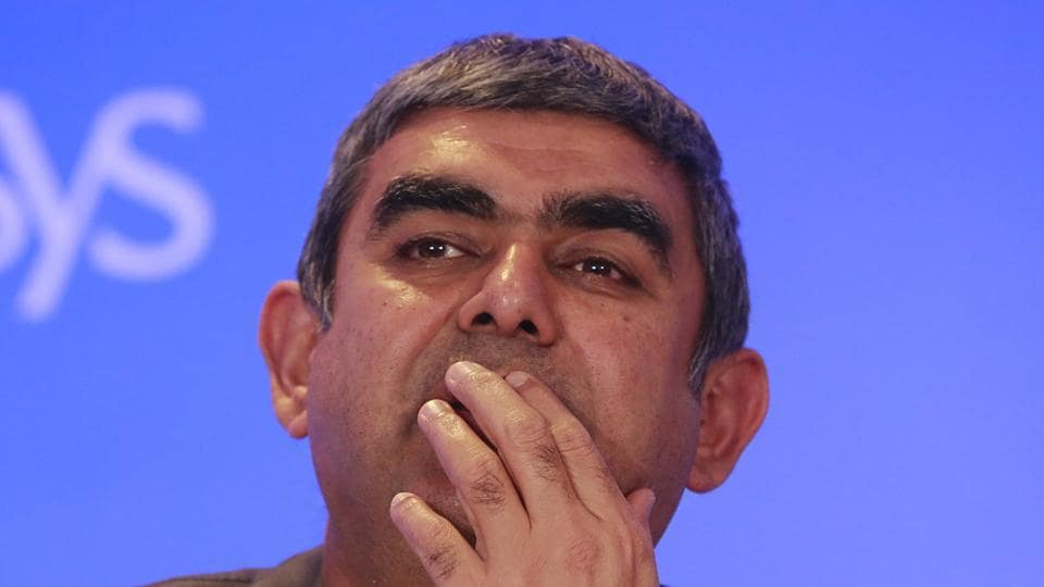 """Infosys CEOVishal Sikka at a press conference in Mumbai, on February 13, 2017.  Sikka dubbed issues raised in the media around corporate governance lapses at the firm as """"distracting""""."""