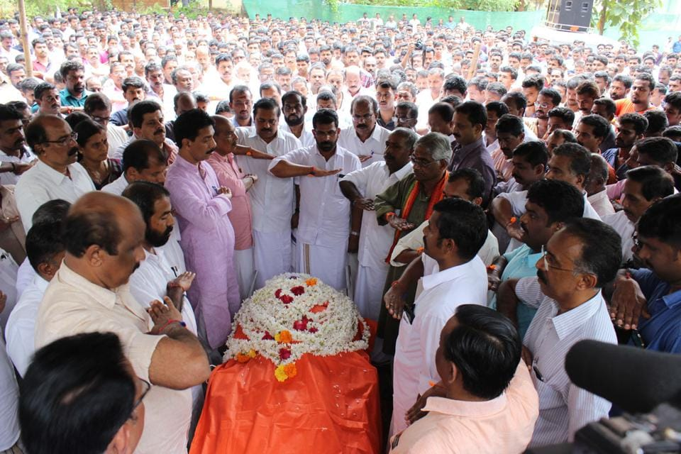 Leaders attend the funeral of Premith, a leader in Kannur who was hacked to death in CM Pinarayi Vjiayan's constituency in October 2016. Recurring political violence has claimed more than 200 lives.