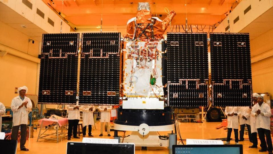 Cartosat 2D satellite undergoing panel deployment test.  It was deployed along with two nano satellites, developed as co-passenger satellites to accompany bigger satellites on PSLV.  (isro.gov.in)
