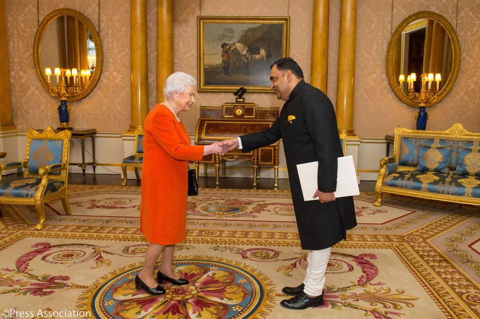 Britain's Queen Elizabeth meets YK Sinha, India's 26th high commissioner to the United Kingdom since 1947, on Wednesday.