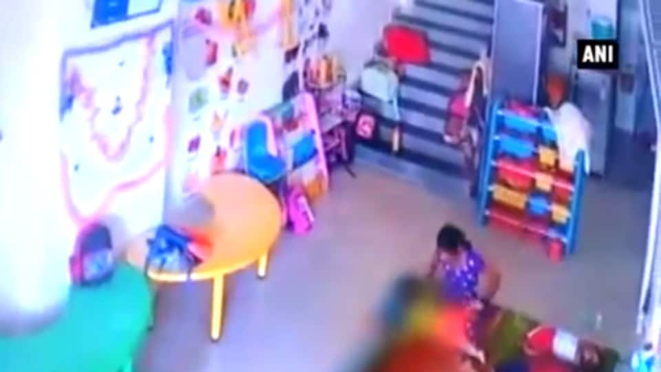 CCTV Footage from the daycare facility in Kharghar showed the help assaulting the child.