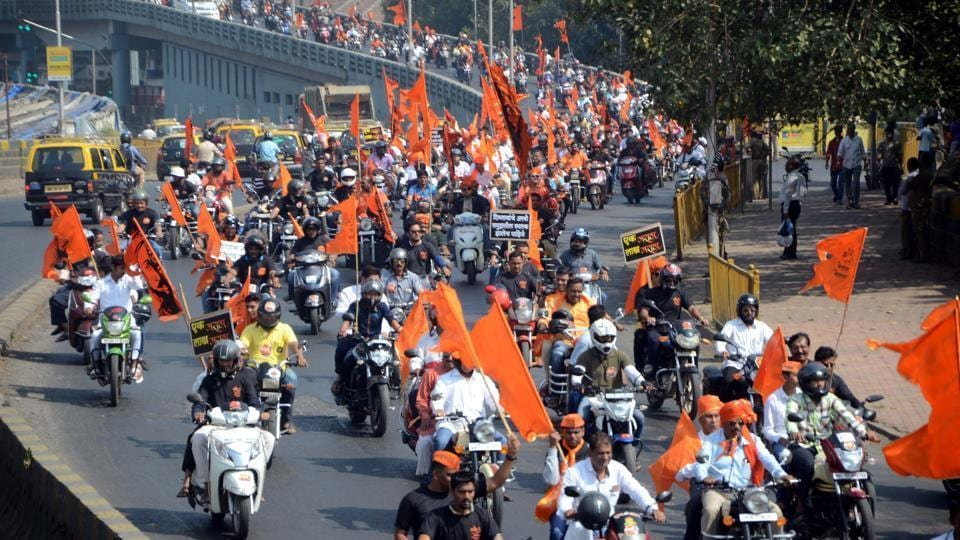 Around 10,000 bikes were on the road for the Maratha Kranti Morcha last year, causing traffic jams.