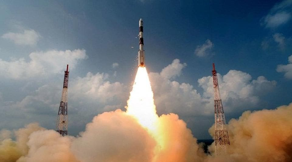 ISRO's PSLV-C37 lifts off from the Satish Dhawan Space Centre in Sriharikota, Andhra Pradesh, on February 15, 2017. The rocket carried with it 104 satellites, successfully launching all of them in orbit, setting a record for most satellites launched in one go.