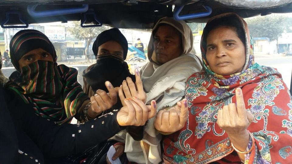 Women cast their vote in Bareilly.  Voting is underway in 67 constituencies across 11 districts in Uttar Pradesh.
