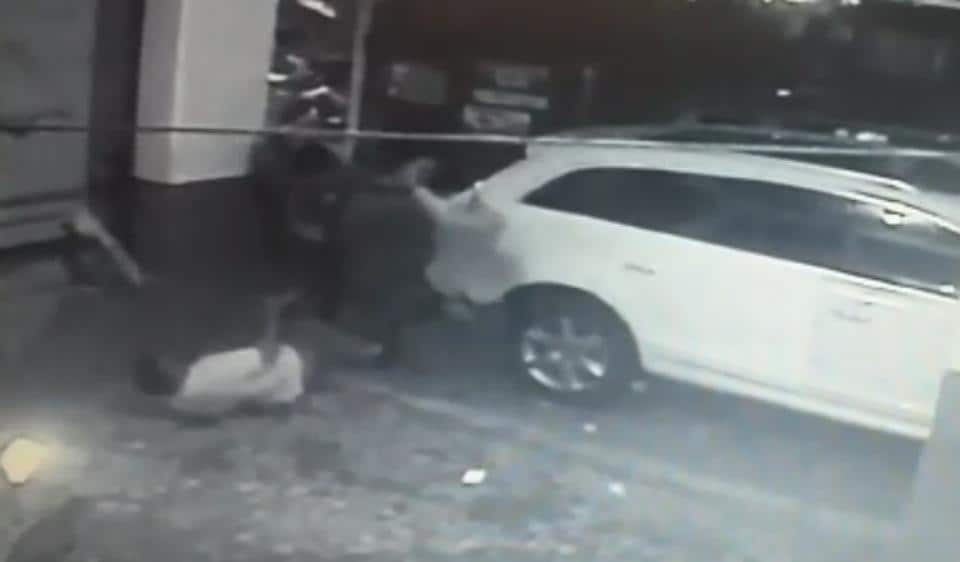A CCTV grab from the footage recorded by the cameras installed in the parking lot.