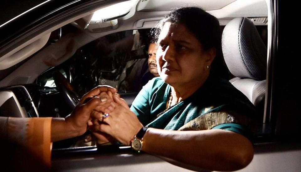 AIADMK general secretary VK Sasikala consoled by a lady on the way from Koovathur Resort to Poes Garden at Koovathur, on the outskrits of Chennai on Tuesday.