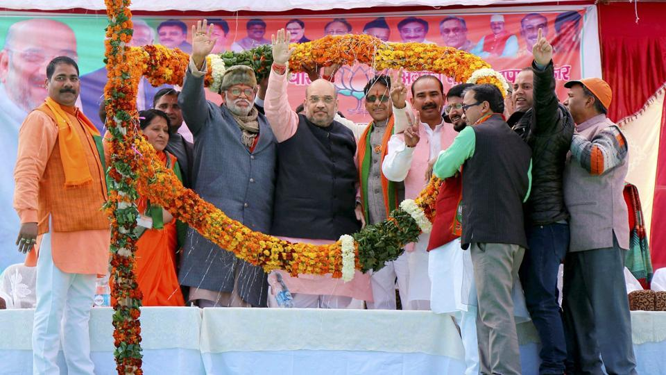 BJP president Amit Shah at a public meeting at Bauradi Stadium, New Tehri in Uttarakhand.