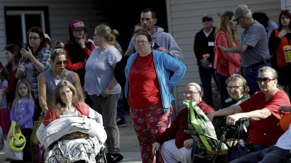 Evacuees converge outside of a shelter on Tuesday in Chico, California. Authorities lifted an evacuation order on Tuesday for thousands of California residents who live below the nation's tallest dam after declaring that the risk of catastrophic collapse of a damaged spillway had been significantly reduced.