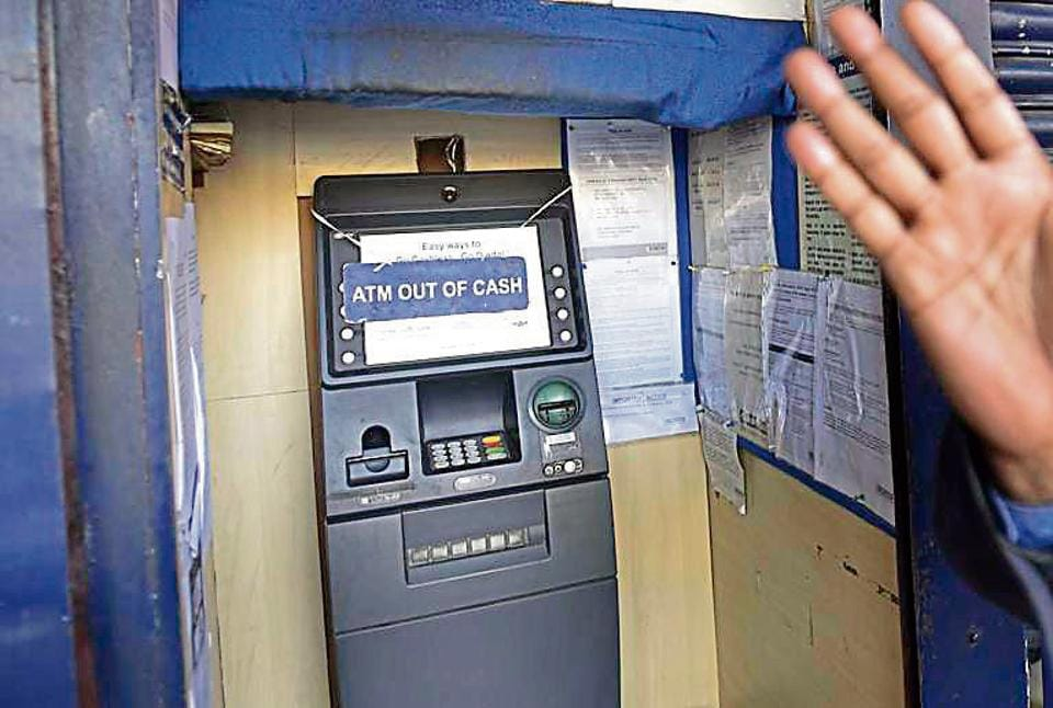 A HDFC bank ATM at Bengali Market in central New Delhi, on January 19, 2017. Bankers say the situation has gotten worse in the past week possibly due to the UP assemblyelections.
