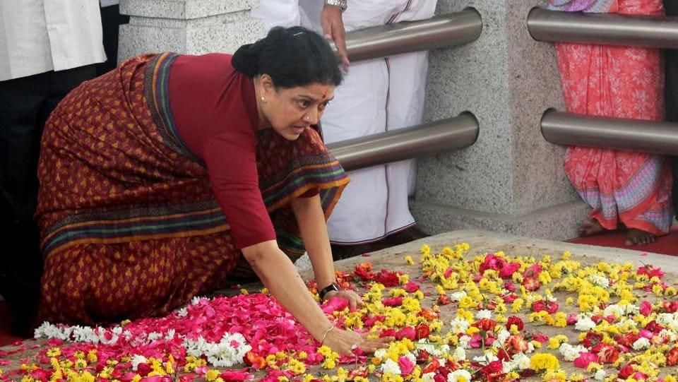 AIADMK's VK Sasikala pays homage at Jayalalithaa's memorial in Chennai on Wednesday.