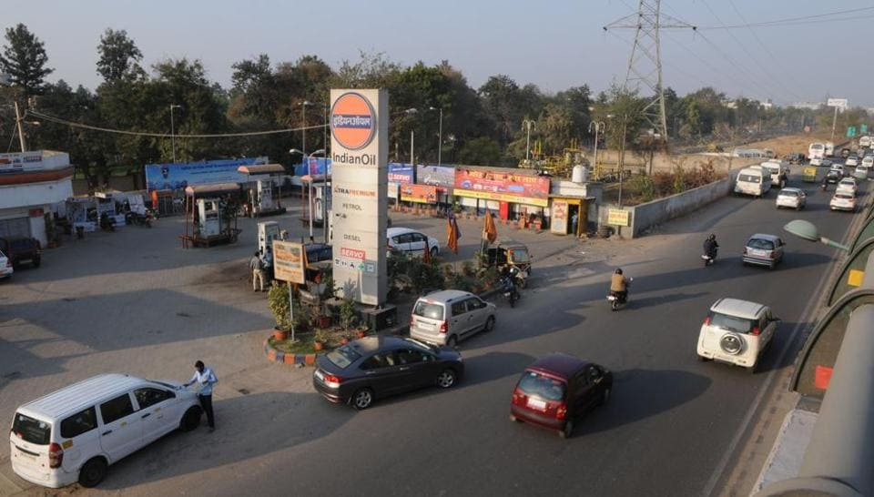 The Indian Oil comes in the way of underpass construction at Iffco Chowk.