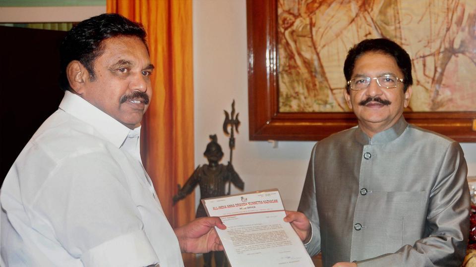 AIADMK legislative party leader 'Edappadi' Palaniswamy calling on Tamil Nadu governor Ch Vidyasagar Rao to stake claim for formation of government at Raj Bhavan in Chennai on Tuesday.