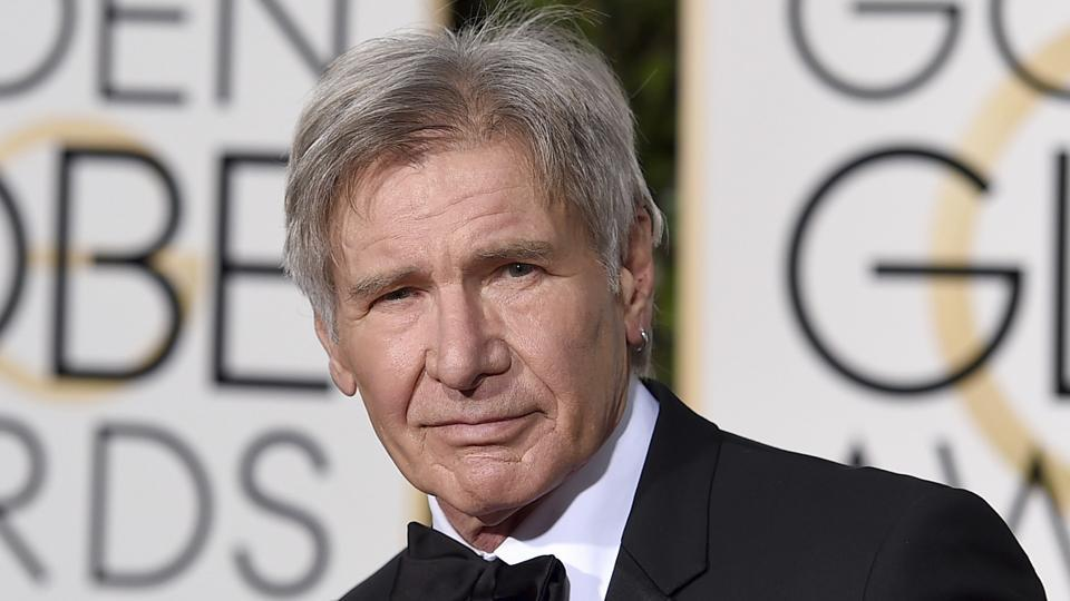 Harrison Ford arrives at the 73rd annual Golden Globe Awards in Beverly Hills.