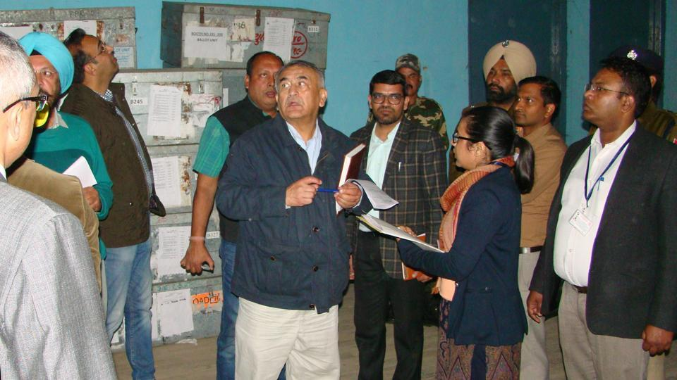 The ECI team comprising of Narender Chauhan, chief electoral officer (CEO) of Himachal Pradesh, and Rajesh Kumar, additional CEO of National Capital Region, Delhi inspecting a strongroom at Physical Education College Patiala on Wednesday.