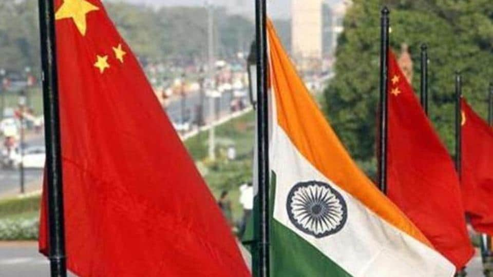 Flags of China and India at Vijay Chowk on Rajpath in New Delhi.