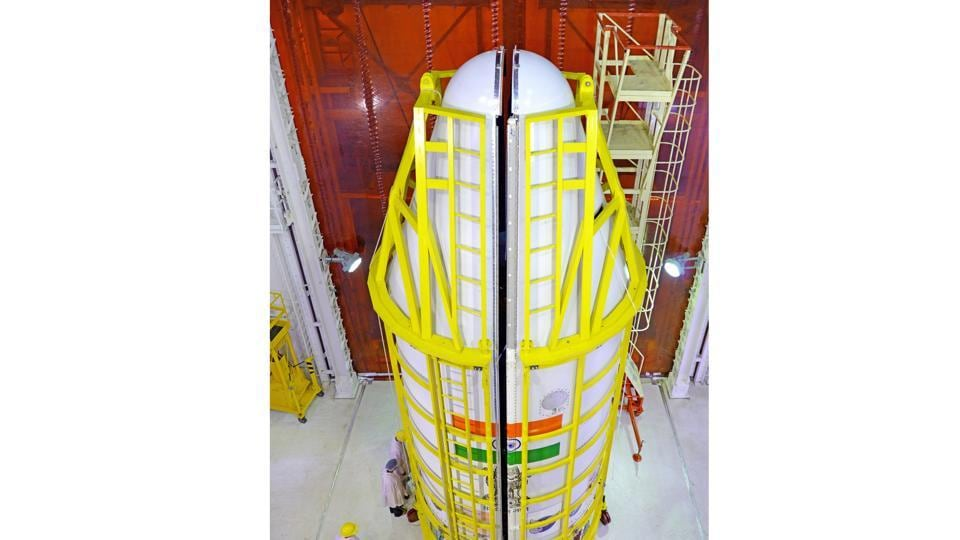 The nozzle  end of the PSLV during vehicle integration.  Isro scientists used the XL Variant – the most powerful rocket –  to carry out the record satellite launch. The variant was earlier used in the ambitious Chandrayaan and Mars Orbiter Mission (MOM) missions. (isro.gov.in)