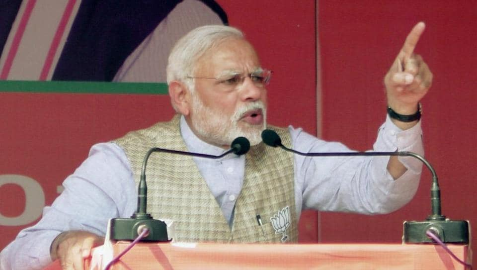 Prime Minister Narendra Modi addressing an election rally at Lakhimpur Kheri in Uttar Pradesh on Monday.