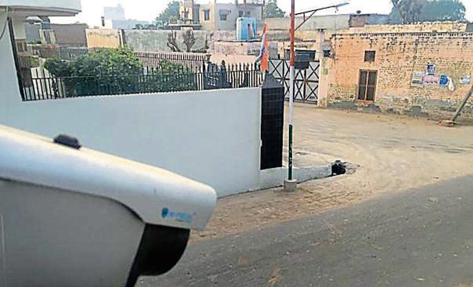 A CCTV camera at a house in Kila Raipur village.
