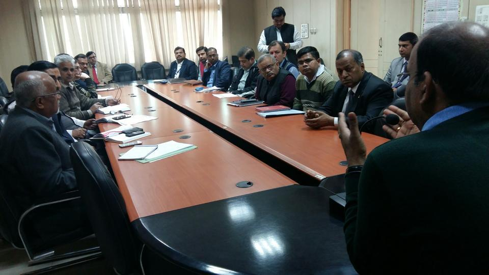 The district magistrate of Gautam Budh Nagar held a meeting with bank managers at his camp office.