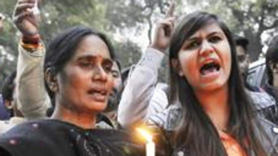 The December 16 gangrape victim's mother protests in New Delhi.