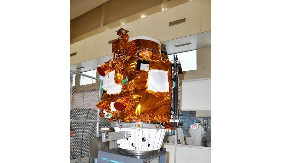 The spacecraft under going dynamic balancing test.  (isro.gov.in)