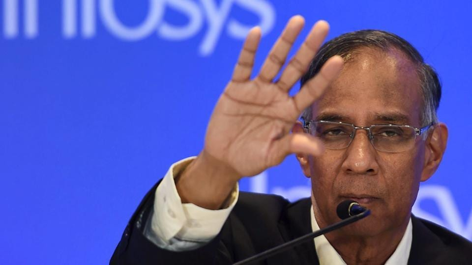 R Seshasayee, a non-executive board chairman of Infosys, at a press conference in Mumbai on February 13, 2017.
