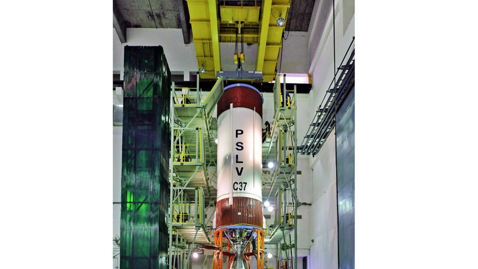 PSLV- C37 liquid stage at stage processing facility.  The countdown for the launch mission began at 5:28am on February 14, 2017, soon after the Mission Readiness Review committee and Launch Authorisation Board gave its approval for lift off, after which scientists commenced filling of the propellant for the rocket. (isro.gov.in)