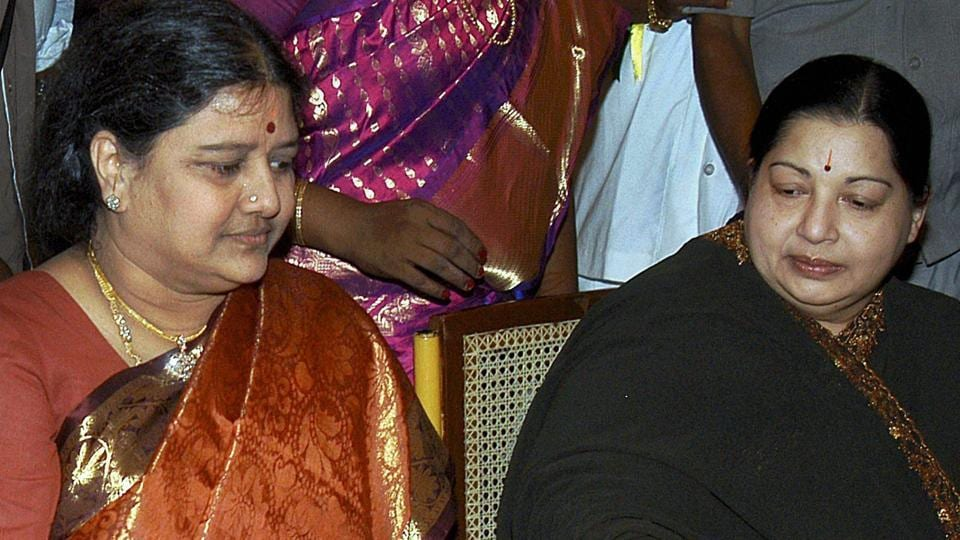 J Jayalalithaa (right) with her close aide VK Sasikala at a function in Chennai on Feb25, 2008.