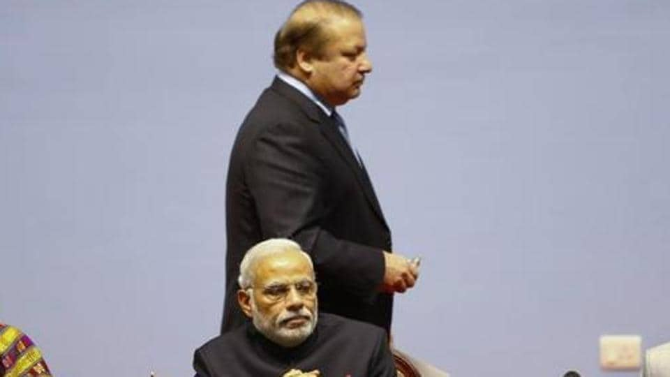 Prime Minister Narendra Modi and Pakistan's Prime Minister Nawaz Sharif (standing) at the opening session of 18th SAARC summit in Kathmandu in November, 2014. Pakistan has decided to boycott a key meeting of South Asian Speakers in an apparent tit-for-tat over India's refusal to attend a Saarc summit in Islamabad in November last year that got axed after many other member countries too pulled out.