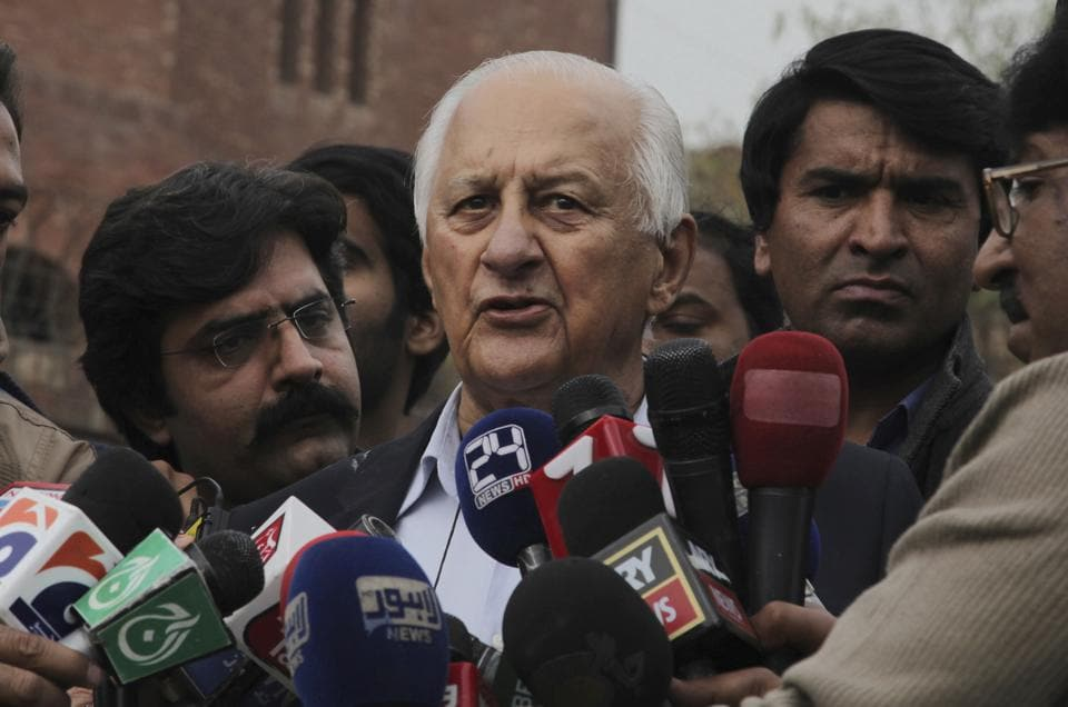 Pakistan Cricket Board (PCB)chairman Shaharyar Khan talks to reporters in Lahore on Wednesday.