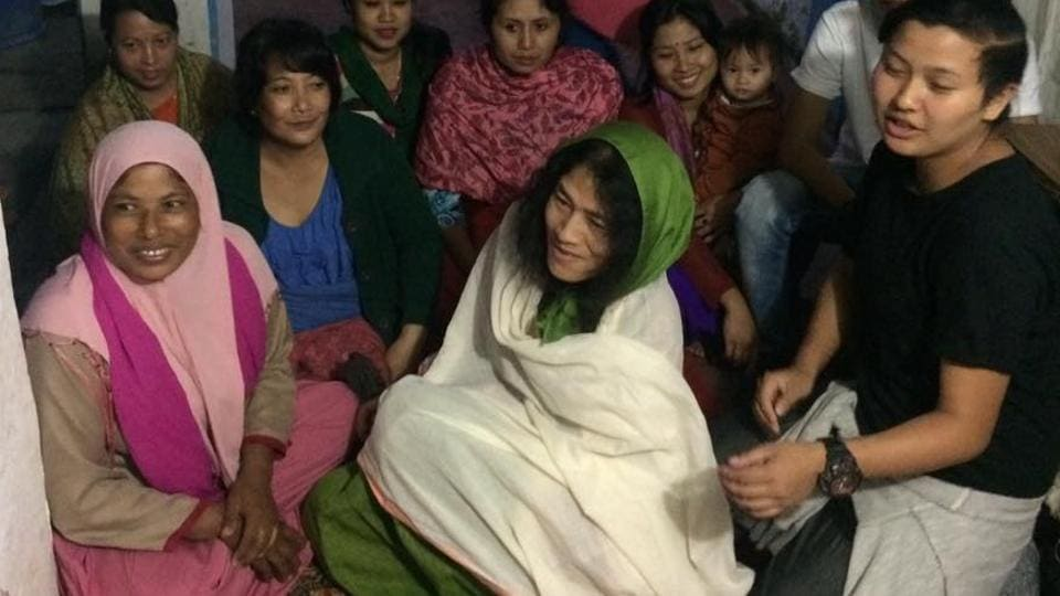 Irom Sharmila and members of her party PRJA during an election campaign.