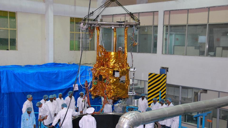 Space craft being loaded into thermal vacuum chamber for environmental qualification test.  (isro.gov.in)
