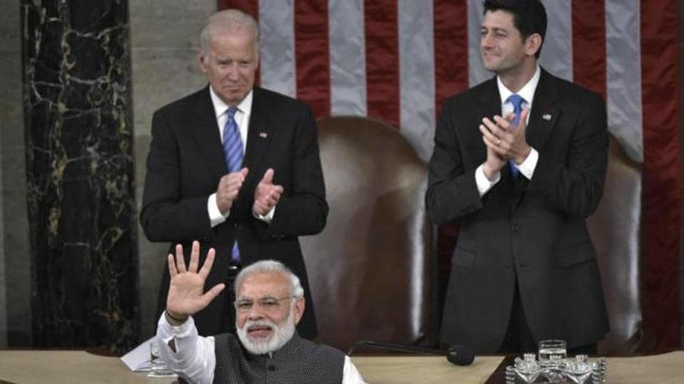 Prime Minister Narendra Modi greets members of Congress after addressing a joint session of the United States Congress at the US Capitol on June 8, 2016 in Washington, DC.