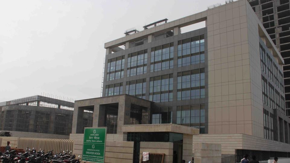 The new authority office complex under construction in Knowledge Park 4 in Greater Noida.