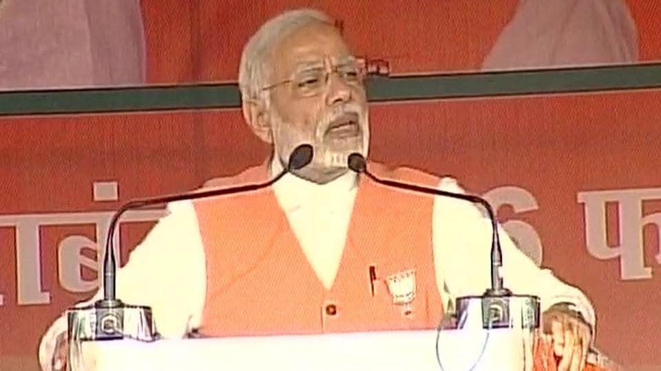 Prime Minister Narendra Modi speaks during a BJPrally in Hardoi, Uttar Pradesh.